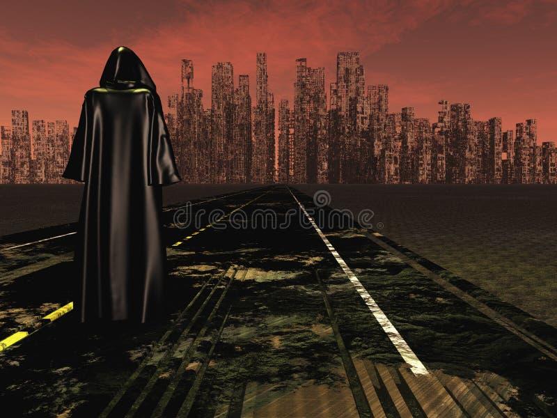 Путешественник на городе дороги запустелом иллюстрация штока