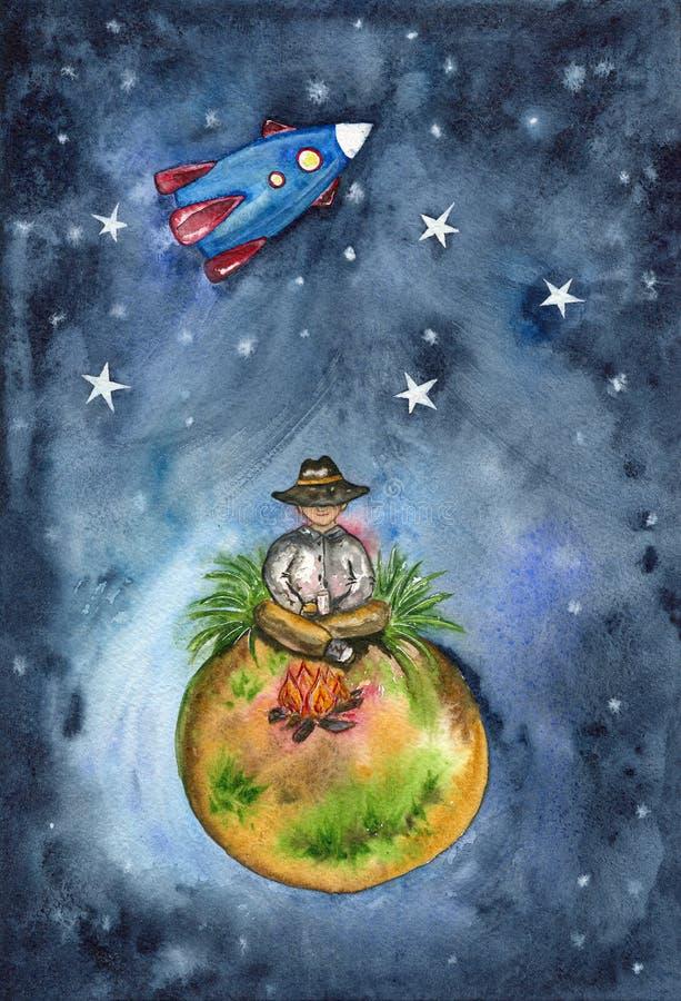 Путешественник сидит огнем на небольшой планете в космосе иллюстрация штока