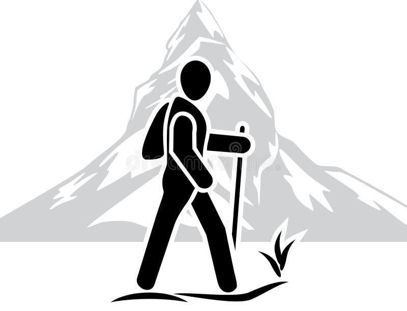 Путешественник среди гор икона бесплатная иллюстрация