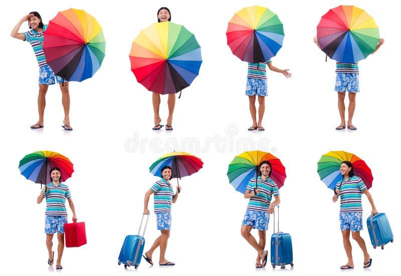 Путешественник с красным случаем и зонтик изолированный на белизне стоковое фото rf