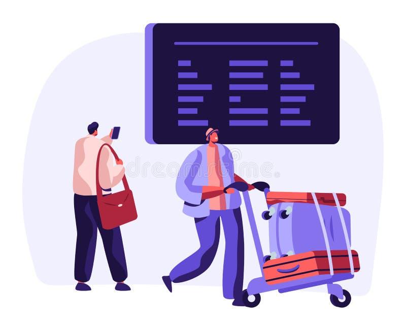 Путешественник с расписанием полетов дозора багажа на расписании аэропорта Концепция перемещения каникул самолета с багажом харак иллюстрация штока
