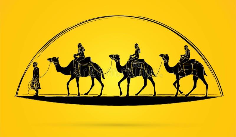 Путешествие верблюда с графиком мультфильма проводника иллюстрация штока