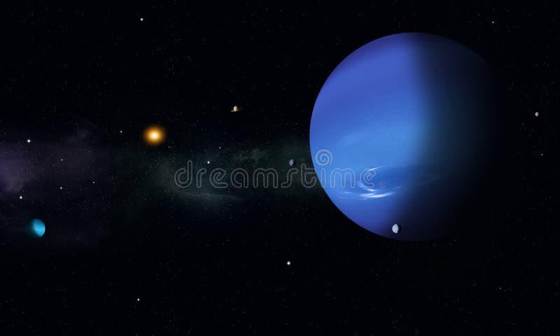 Путешествие космоса к Нептуну иллюстрация вектора