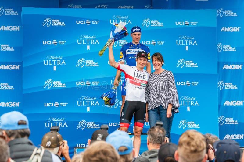 Путешествие Amgen Калифорния 2019 Финишная черта этапа 4 в заливе Morro Победители Fabio Jakobsen и яшма Philipsen стоковая фотография