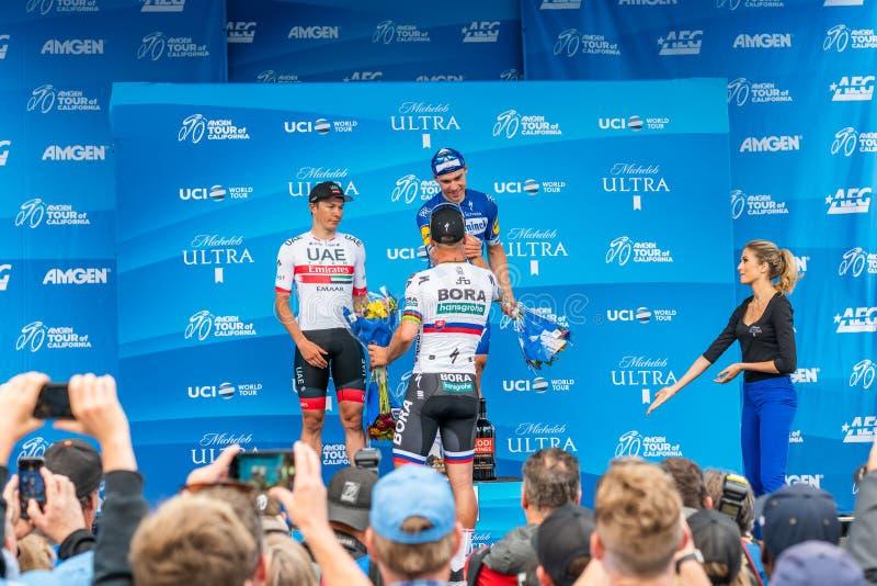 Путешествие Amgen Калифорния 2019 Финишная черта этапа 4 в заливе Morro Победители: Fabio Jakobsen, яшма Philipsen, Питер Sagan стоковое изображение rf
