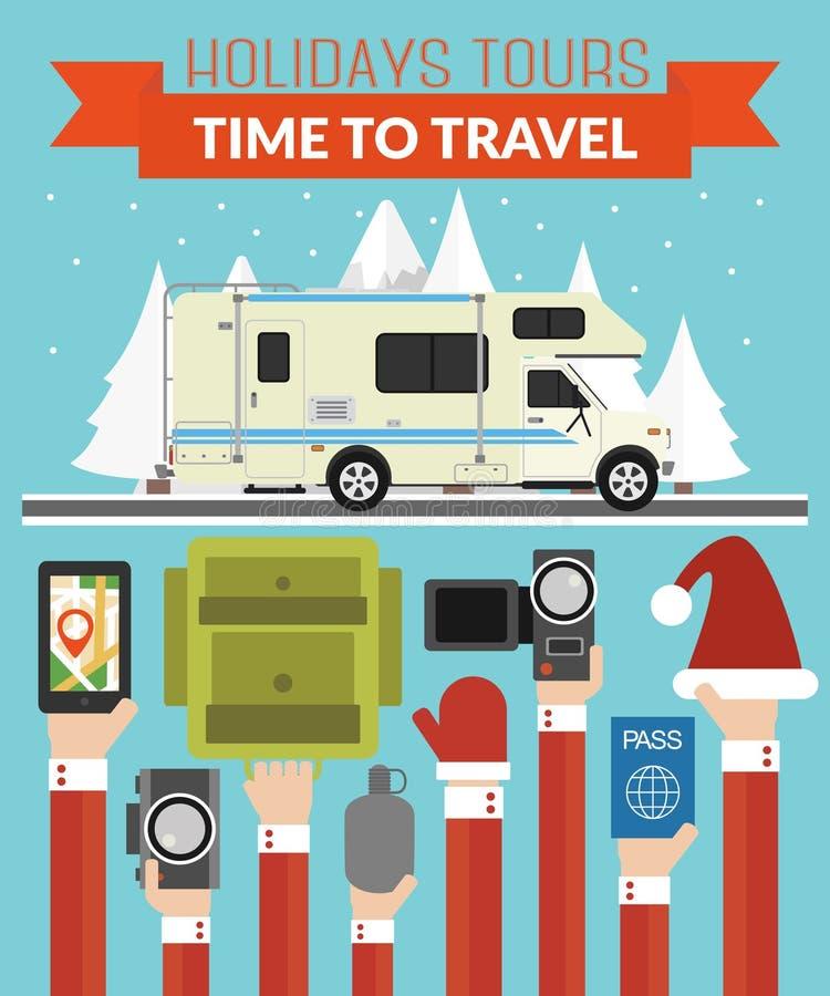 Путешествия праздников Нового Года конструируют плоско с туристом, трейлером иллюстрация вектора