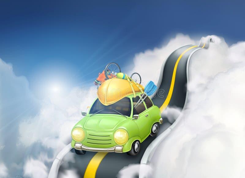 Путешествовать автомобилем в облаках иллюстрация штока