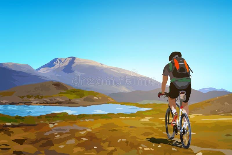 Путешествовать велосипедиста иллюстрация вектора