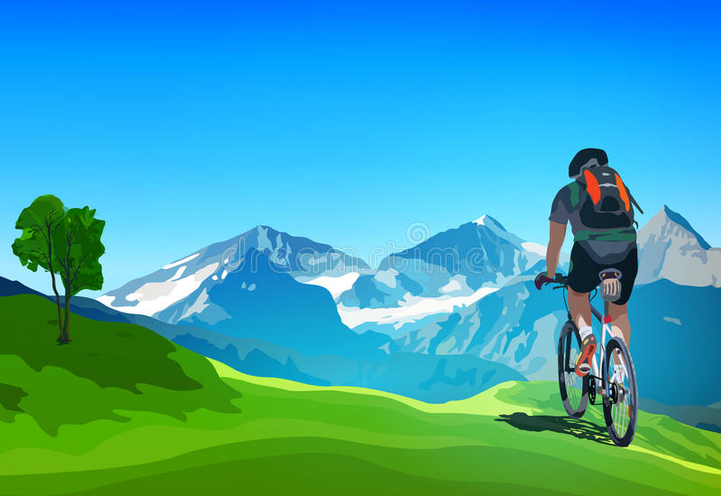Путешествовать велосипедиста иллюстрация штока