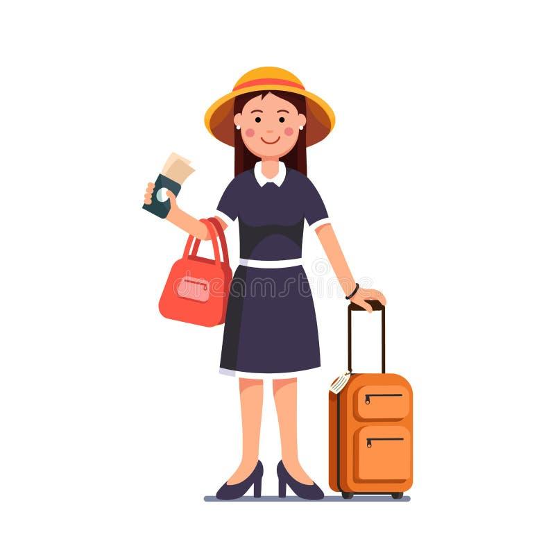 Путешествовать девушка держа пасспорт, билеты в руке иллюстрация штока