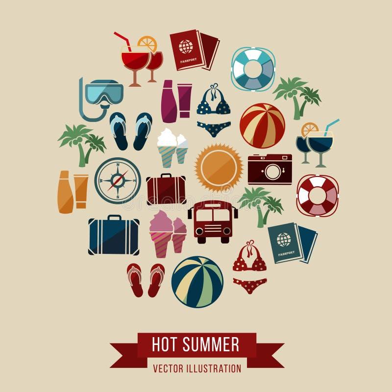 Путешествовать, летние каникулы, туризм и путешествие vector концепция бесплатная иллюстрация