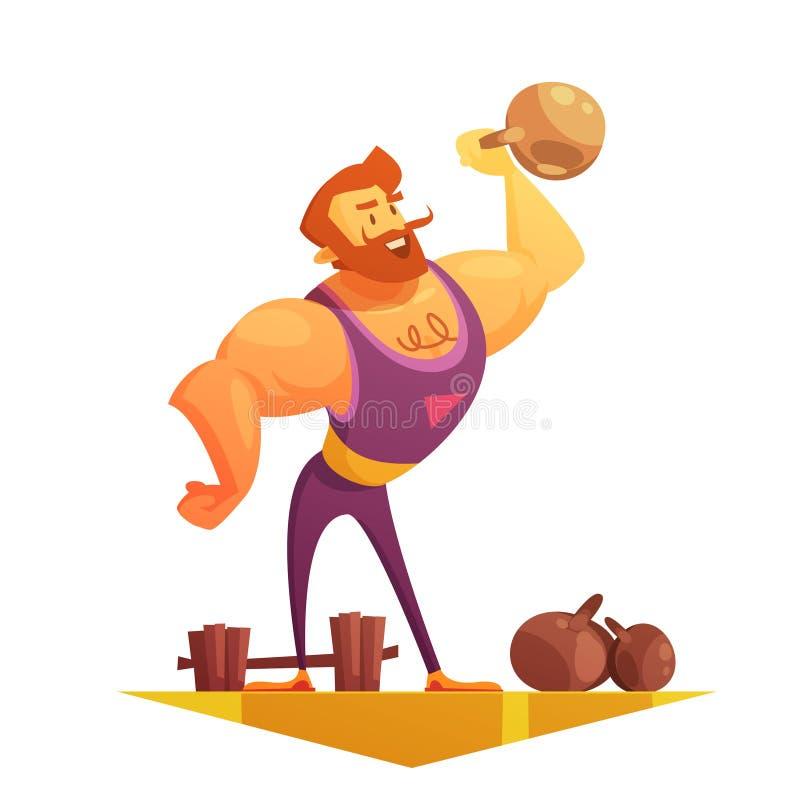 Путешествовать значок шаржа сильного человека цирка ретро иллюстрация штока