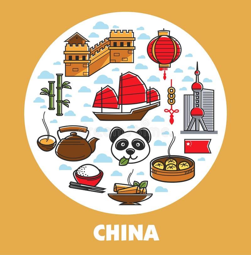 Путешествовать Китая и культура и символы туризма китайские национальные бесплатная иллюстрация