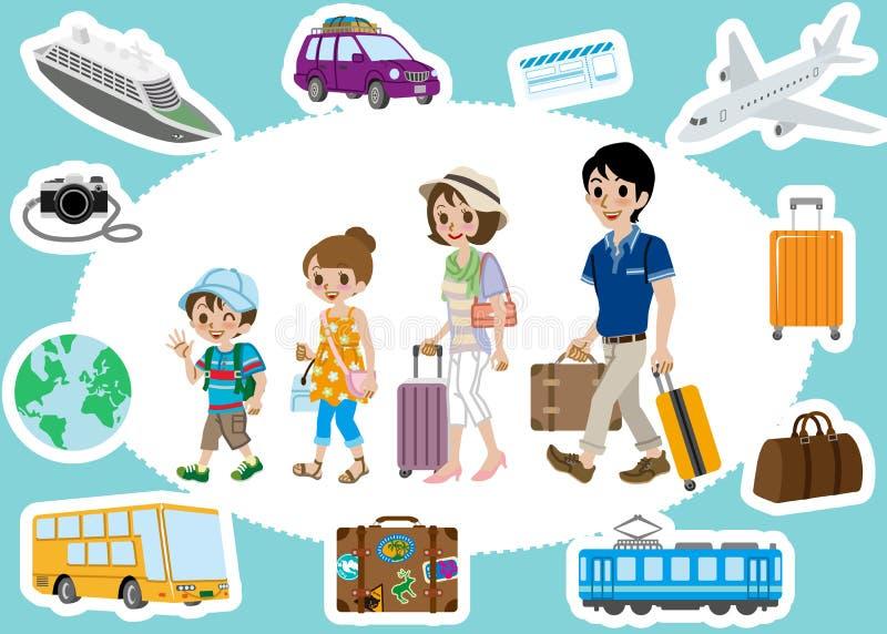 Путешествовать комплекты семьи и транспорта иллюстрация вектора