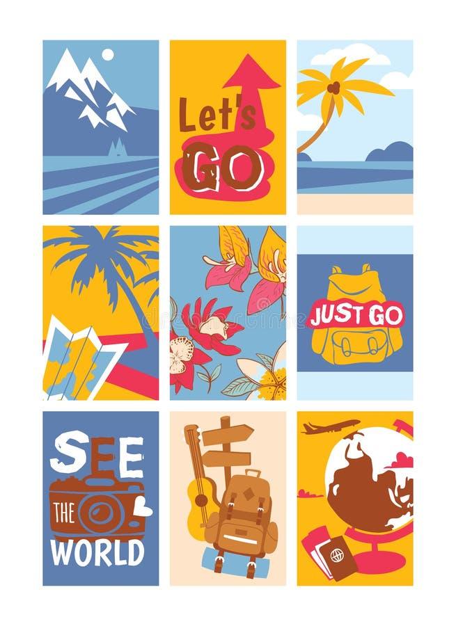 Путешествовать набор концепции иллюстрации вектора знамен См. мир Как раз пойдите Позвольте s пойти Солнечные пляжи с пальмами иллюстрация штока