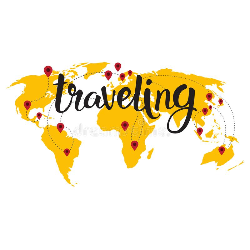 Путешествовать помечать буквами над концепцией приключения туризма предпосылки карты мира нарисованной рукой иллюстрация штока