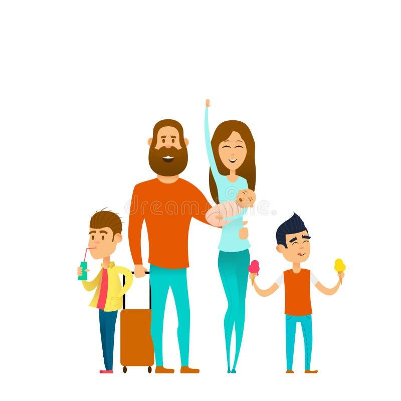 Путешествовать счастливая семья иллюстрация штока