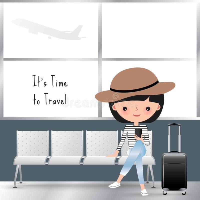 Путешествовать шарж женщины на авиапорте иллюстрация вектора