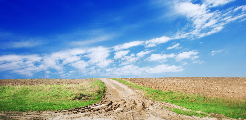 Путешествуйте дорога на поле с зеленой травой и голубым небом с облаками на ферме в дне красивого лета солнечном Чистый, идилличн стоковые фотографии rf