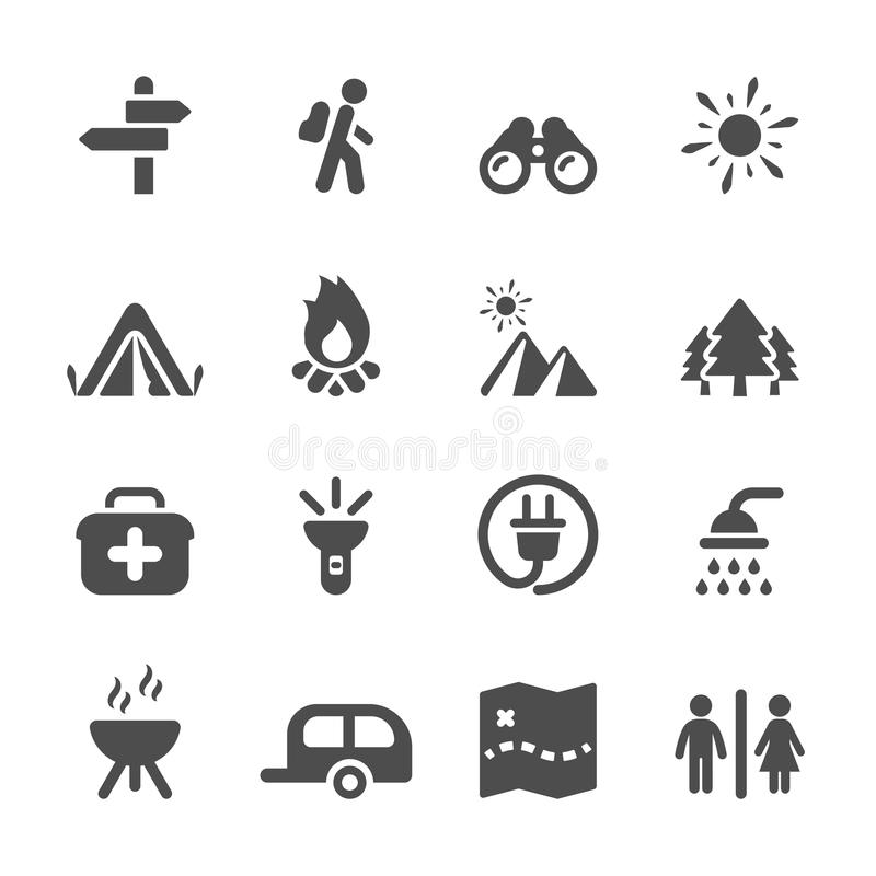 Путешествуйте и располагаясь лагерем комплект значка, вектор eps10 иллюстрация штока