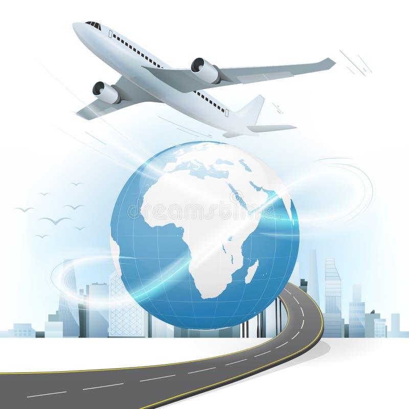 Путешествуйте и транспортируйте концепция с картой мира Африки и Европы иллюстрация вектора