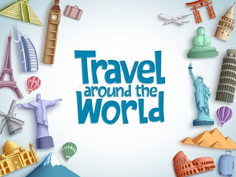 Путешествуйте и путешествуйте шаблон предпосылки вектора с текстом перемещения по всему миру и известными туристскими назначениям иллюстрация штока