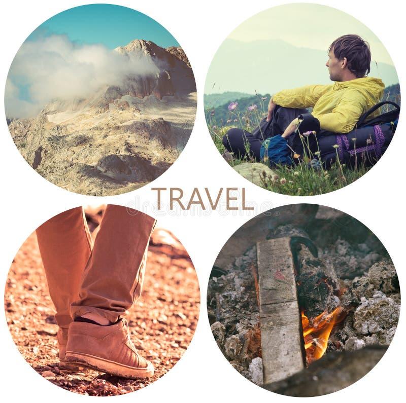 Путешествуйте концепция образа жизни с горами и людьми внешними стоковое изображение rf