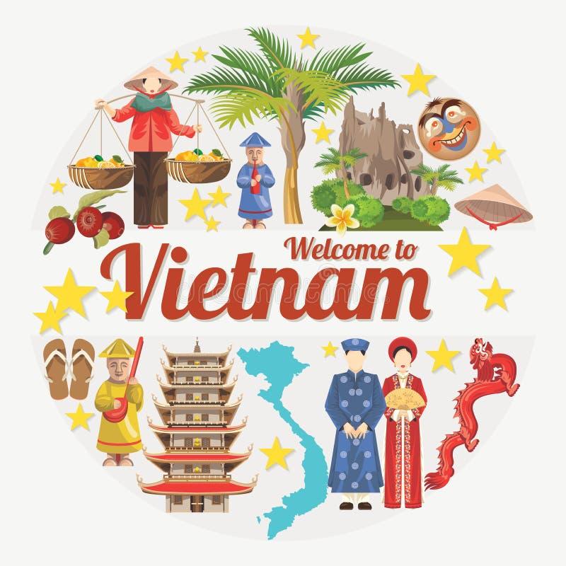 Путешествуйте к карточке Вьетнама с въетнамскими этническими значками иллюстрация вектора