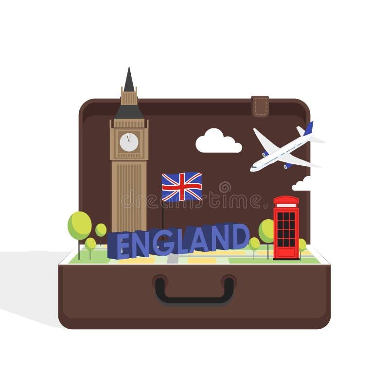 Путешествуйте к концепция Лондону, Великобритании с значками ориентир ориентира внутри чемодана иллюстрация вектора