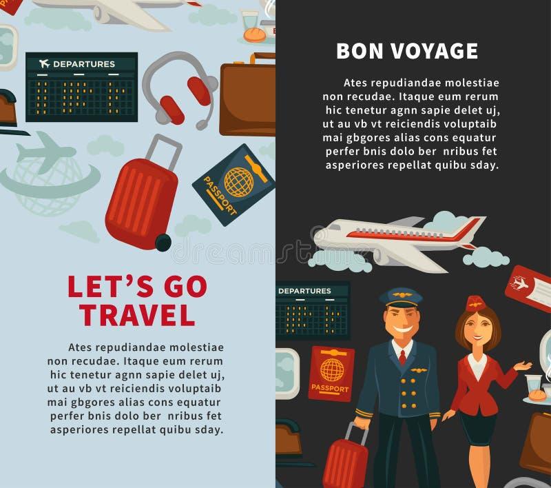 Путешествуйте плакат путешествовать вектора или значков отключения каникул плоские иллюстрация штока