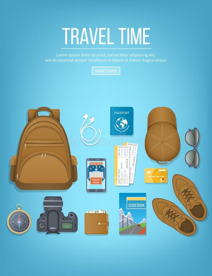 Путешествуйте планирование, контрольный списоок упаковки подготавливая на каникулы, перемещение, путешествие, отключение Таблица  иллюстрация вектора