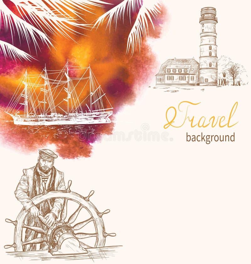 Путешествуйте предпосылка с маяком, силуэтом корабля и капитаном иллюстрация штока