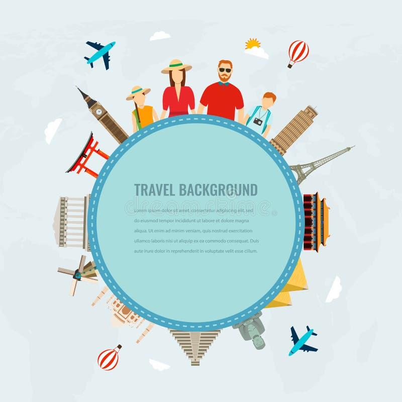 Путешествуйте состав с семьей и известными значками ориентир ориентиров мира вектор иллюстрация штока