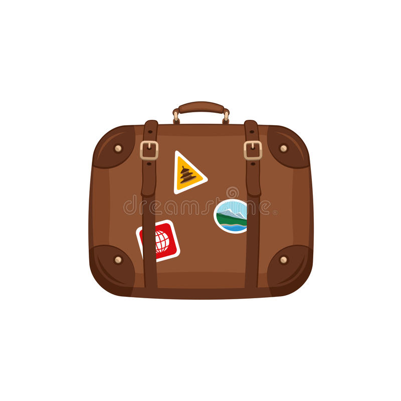 Путешествуйте чемодан сумки с стикерами на белой предпосылке Багаж ручки перемещения лета Путешествовать оборудование бесплатная иллюстрация