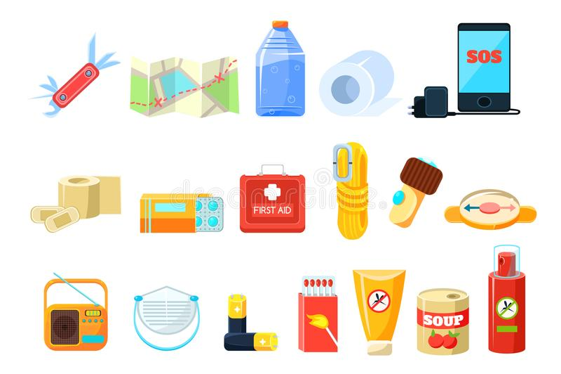 Путешествуйте sett необходимостей, бортовая аптечка, веревочка, компас, карта, телефон, бутылка воды, батареи, радио, коробки спи иллюстрация штока