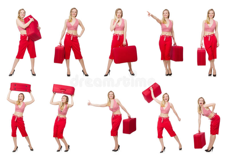 Путешествуя женщина при чемодан изолированный на белизне стоковые фотографии rf