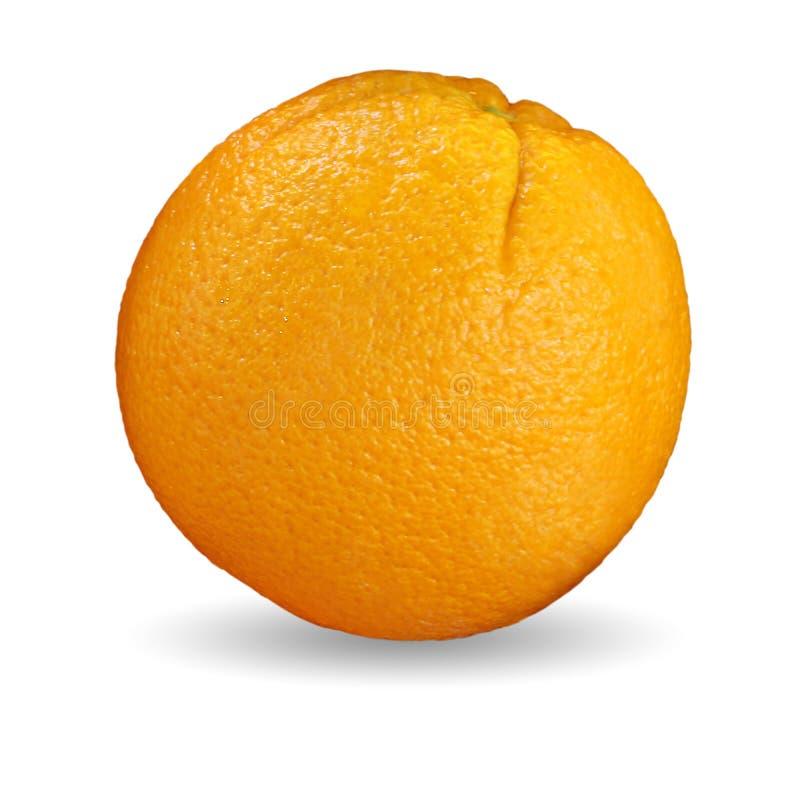 Пути клиппирования, конец вверх по одиночному апельсину изолированному на белой предпосылке стоковое изображение