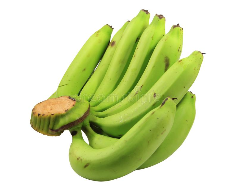 Пути клиппирования cavendish банан, конец вверх по cavendish зеленому цвету банана или банана пука сырцовому стоковое фото