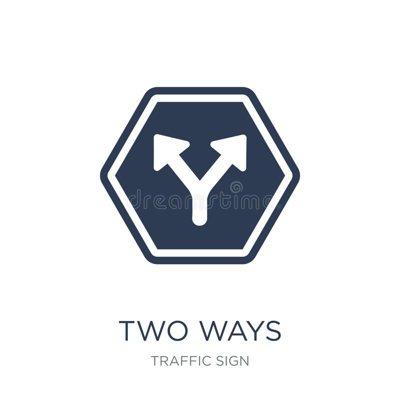 2 пути подписывают значок Ультрамодные плоские пути вектора 2 подписывают значок на whi иллюстрация штока