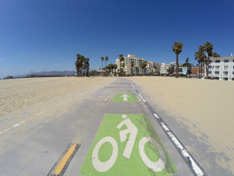 Путь велосипеда пляжа Санта-Моника стоковая фотография rf