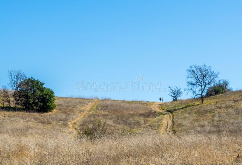 Путь вниз Rolling Hills грязи с 2 hikers в расстоянии стоковое изображение rf