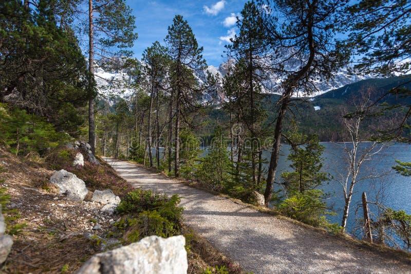 Путь Германия озера Eibsee с горной цепью zugspitze на заднем плане стоковое изображение