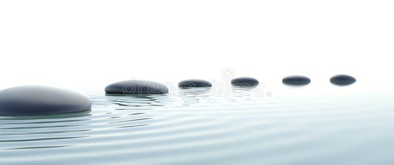 Путь Дзэн камней в широкоэкранном иллюстрация вектора
