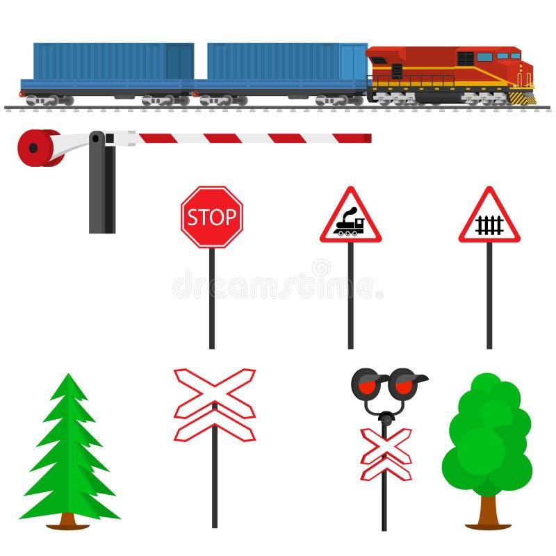 Путь и поезд железнодорожного движения с контейнерами Транспорт железнодорожного поезда иллюстрация вектора