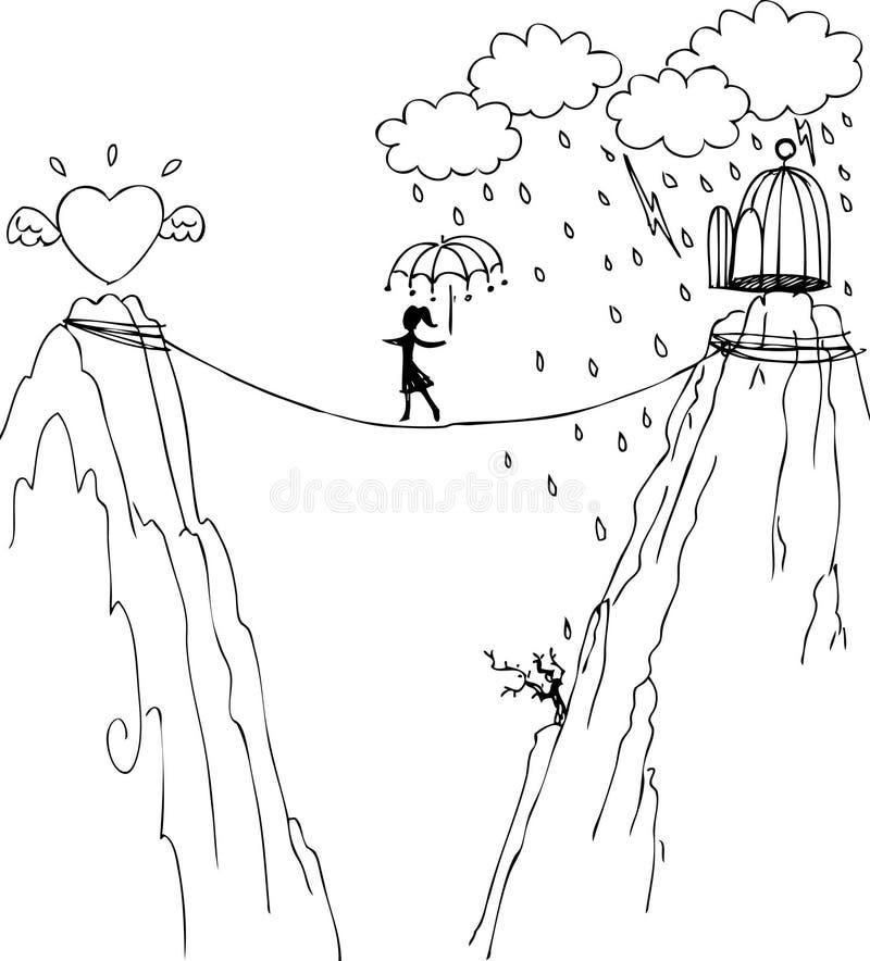 Путь, который нужно полюбить и свобода иллюстрация вектора
