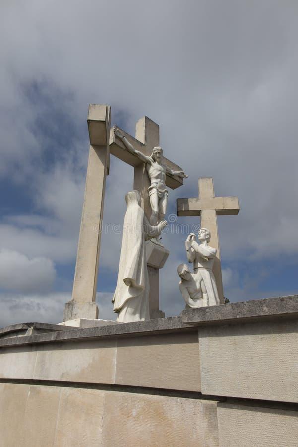 Путь креста на пути от Фатимы к Aljustrel стоковые фотографии rf