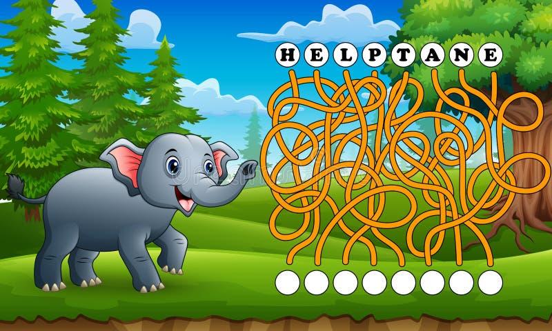 Путь находки лабиринта слона игры к слову иллюстрация штока