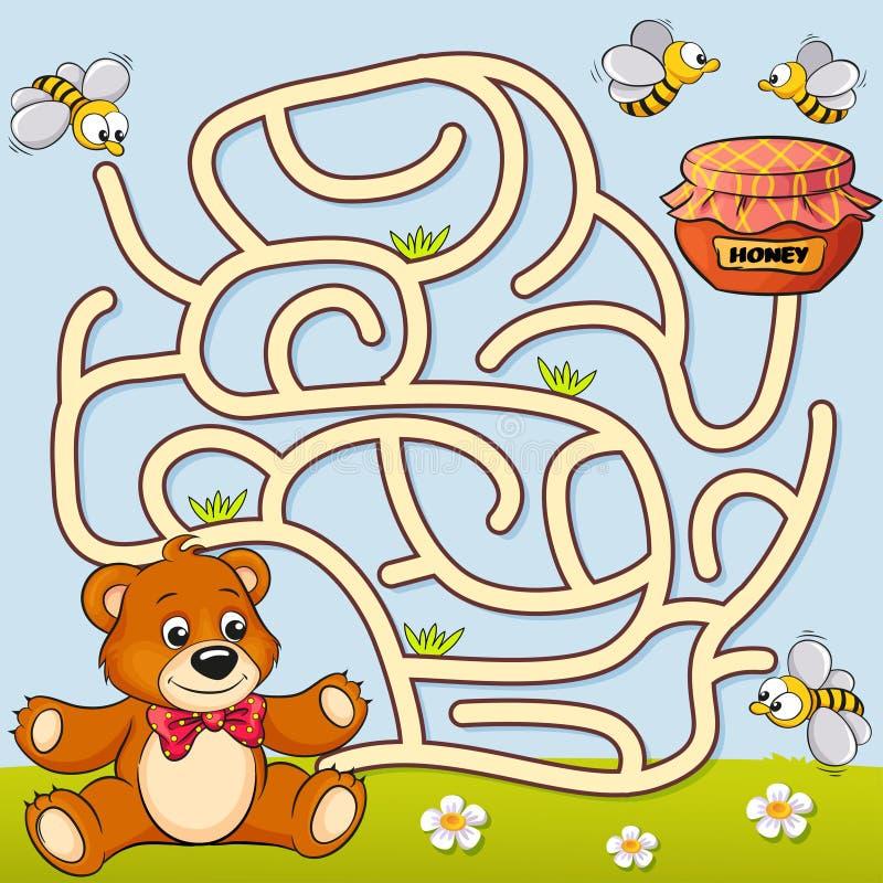 Путь находки медведя помощи к меду лабиринт Игра лабиринта для малышей иллюстрация штока