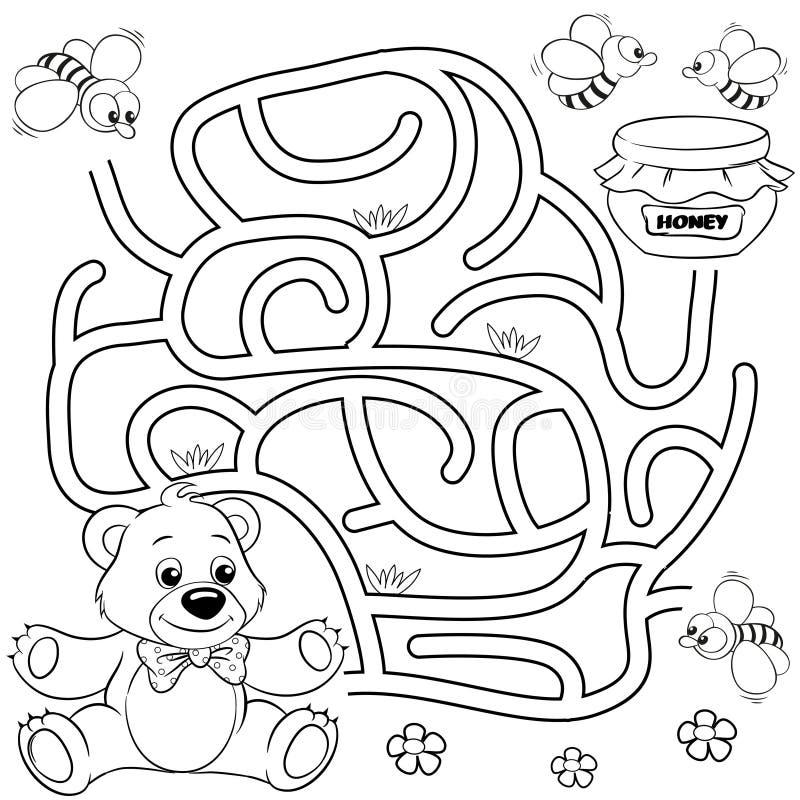 Путь находки медведя помощи к меду лабиринт Игра лабиринта для малышей Черно-белая иллюстрация вектора для книжка-раскраски иллюстрация вектора