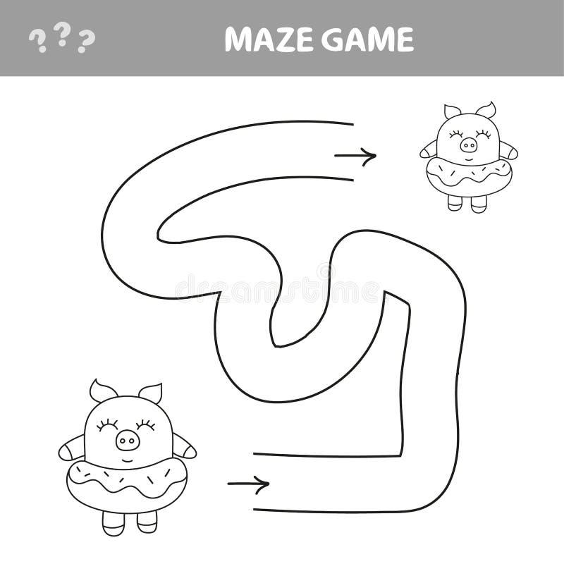 Путь находки помощи piggy Лабиринт Игра лабиринта для детей r иллюстрация вектора